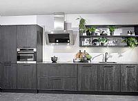 Zwarte houten keuken compleet met apparatuur -G-