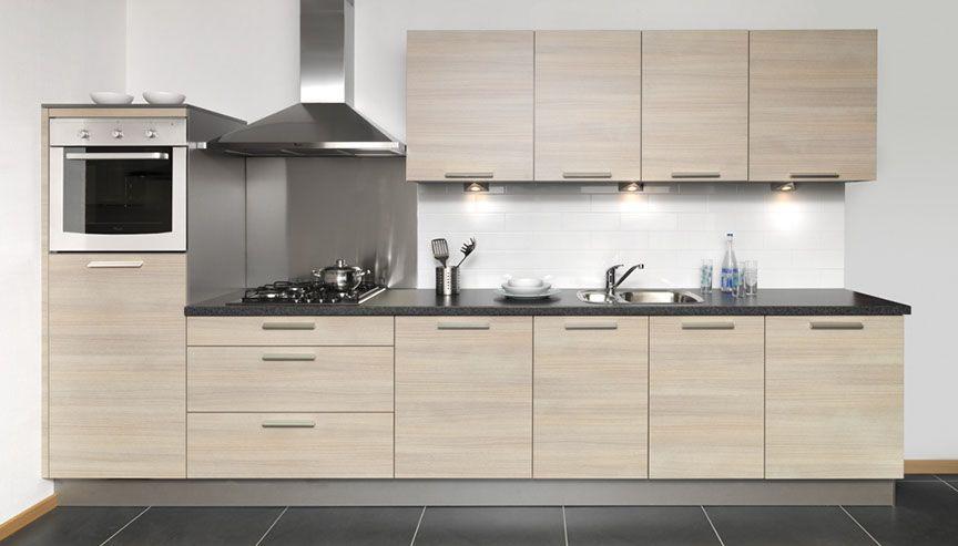 Keuken witte keuken met zwart werkblad : ... lage keuken prijzen : Rechte keukenopstelling in eiken grijs [45668